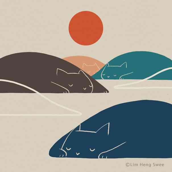 10 Ilustrasi Lanskep Pemandangan Minimalis Untuk Pecinta Kucing