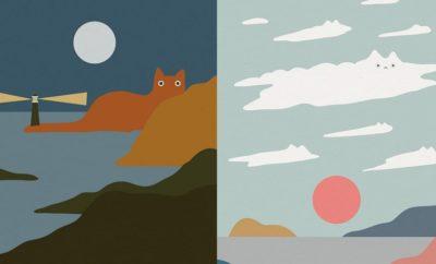 10 Ilustrasi Lanskap Pemandangan Minimalis untuk Pecinta Kucing